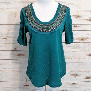 Deletta Anthropologie Jewelscape Embellished Tee M
